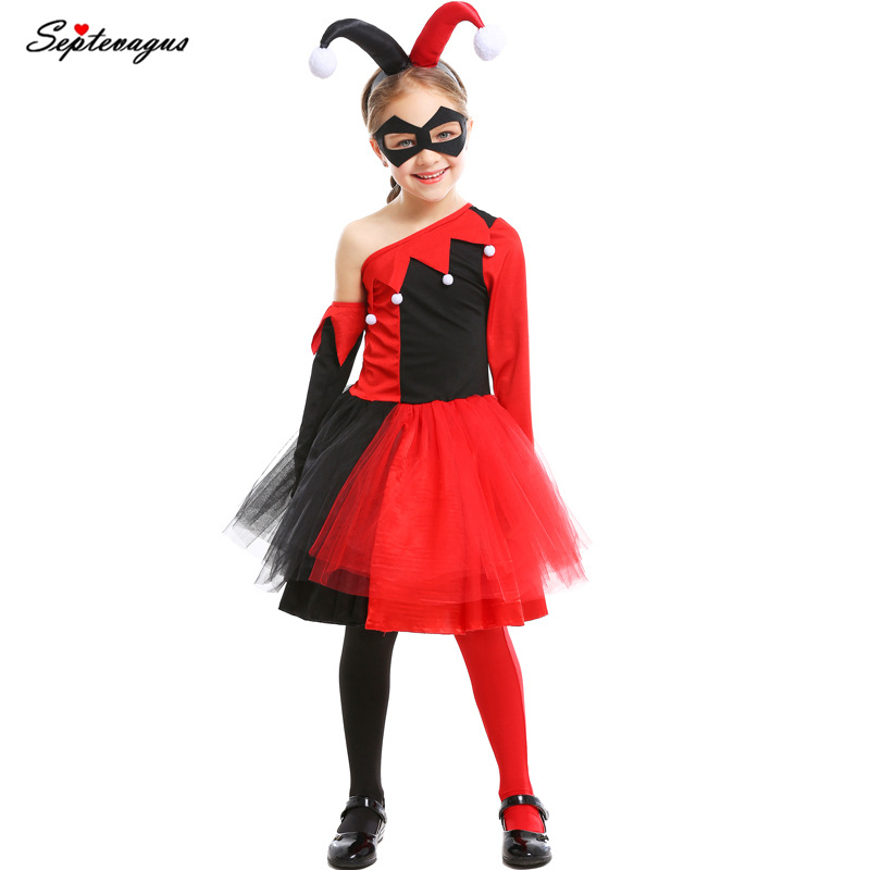 Joker And Harley Quinn The Joker Costumes For Kids Girls Harley Quinn Clown Costume Halloween Carnival Fantasias Fancy Dress