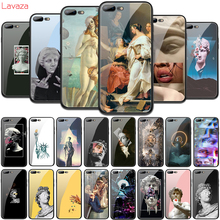 Aesthetics Yellow oil painting Camila Cabello Lips Plaster Glass Cover for iPhone 6 6S 7 8 Plus 5 5S SE XR X XS 11 Pro MAX