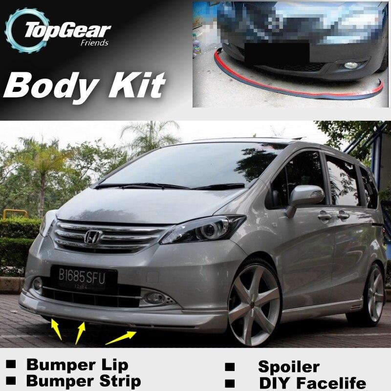 For HONDA Freed Bumper Lip / Front Spoiler For Car Tuning / TOPGEAR Body Kit + Strip Skirt