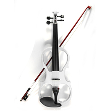 4/4 White Violin Electric Violin Fiddle String Instrument Ebony Fittings Cable Headphone Case for Music amateurs and Beginners