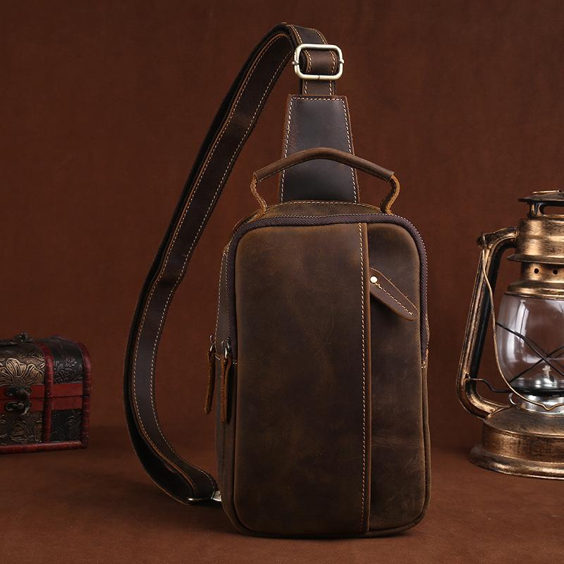 100% Genuine Crazy Horse Leather Men's Sling Chest Day Pack Back Vintage Casual Messenger Bags Cross Body  Cowhide Shoulder Bag