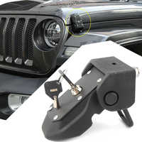 Auto Car Hood Lock Latches Buckle Pins Catch With Key Kit For 2018 Jeep Wrangler JL JK 2007 08 09 2010 11 12 13 14 15 16 17 2018