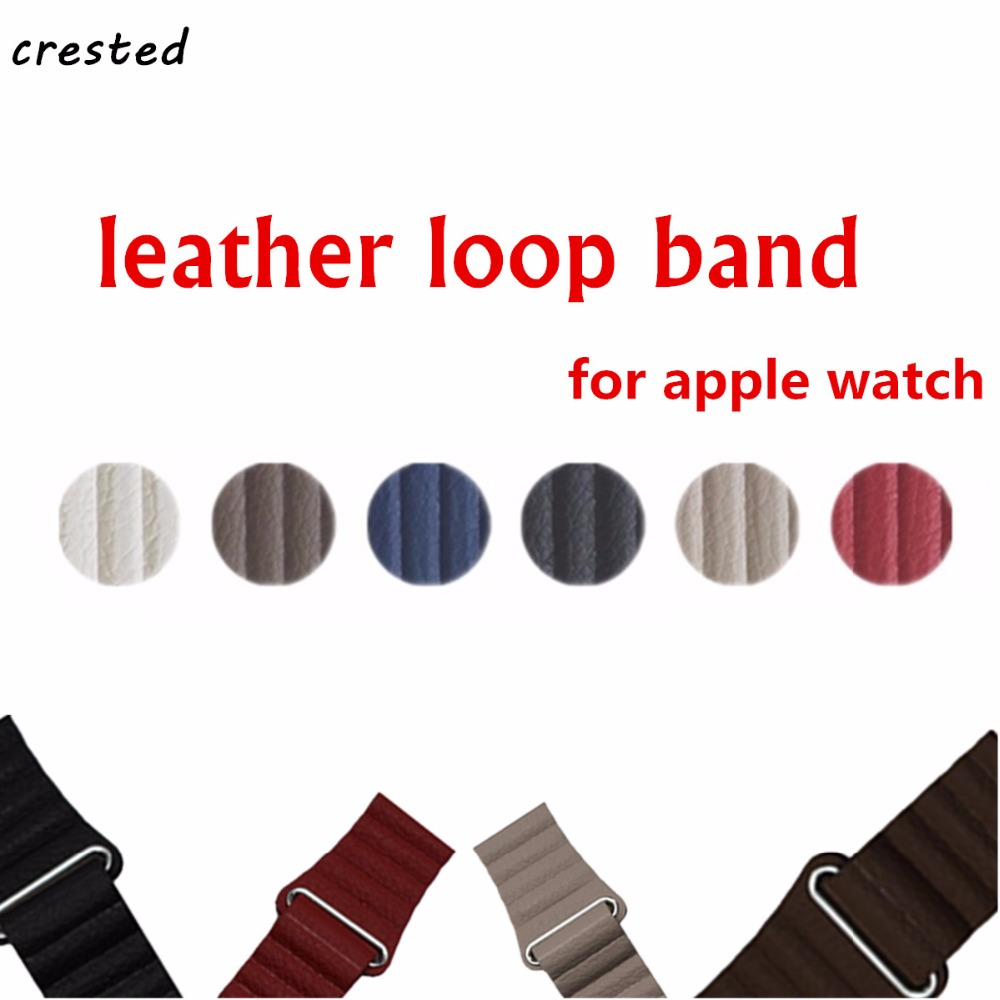 CRES/TED Leather Loop For Apple Watch band 38mm/42mm iwatch 3 2 1 strap wrist bracelet Magnetic Closure leather Loop belt