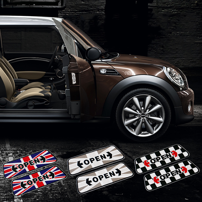 2Pcs Car Door Open Warning Stickers Reflective Safety For Mini Cooper One S JCW R56 R55 F56 F55 F60 R60 Car Styling Accessories sun protection cool hat car logo for mini cooper s r53 r56 r60 f55 f56 r55 f60 clubman countryman roadster paceman car styling