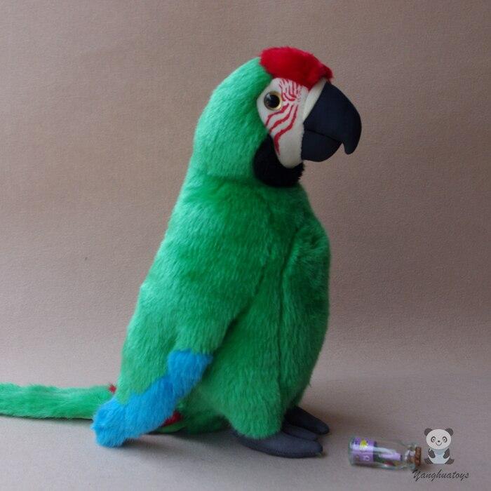 Mignon gros Macaw poupée jouet Simulation vert perroquets jouets en peluche Simulation animaux sauvages ameublement 30