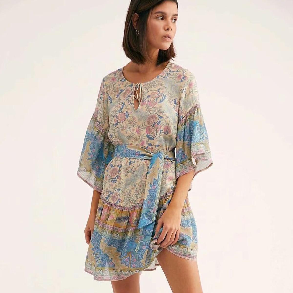 98ad03889aef Oasis Mini Dress V Neck Short Sleeve Summer Dresses Boho Beach Floral Print  Dress Casual Hippie Short Women Dresses(no belts)-in Dresses from Women's  ...