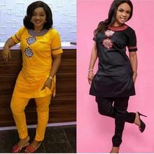 Купить с кэшбэком H&D 2019 African women clothing Africa summer short sleeve dashiki set embroidery design white black lady blouse top with pants