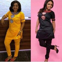 H & D 2019 Afrikanische frauen kleidung Afrika sommer kurzarm dashiki set stickerei design weiß schwarz dame bluse top mit hosen