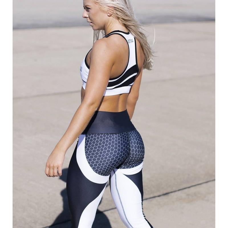 LASPERAL Honeycomb Printed Yoga Pants Women Push Up Professional Running Fitness Gym Sport Leggings Tights Slim Elastic Trousers 4