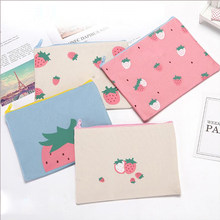 1PCS The latest strawberry shape stationery bag student painting special pencil bag bill file bag office and school supplies(China)