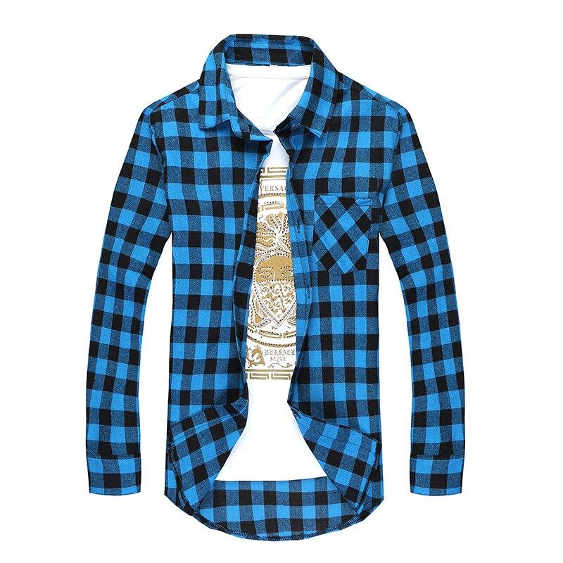 Men Plaid Shirt Camisas Social 2020 Autumn Men's Fashion Plaid Long-sleeved Shirt Male Button Down Casual Check Shirt