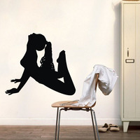 Girl Fitness Exercise Wall Decals Vinyl Gym Yoga Pose Wall Stickers Home Decor Living Room Girls