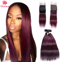 Beauhair Pre Colored Straight T1B/99J Ombre Color Human Hair 2 Bundles With One 4*4 Closure 100% Brazilian Human Hair Weavings