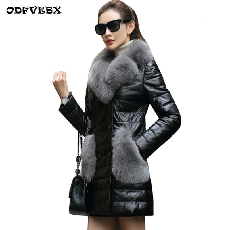 Women's Winter warm Down Cotton Parka Jackets2019Winter Faux Leather Jacket Women Faux Fox Fur leather Coat Chaqueta Cuero Mujer