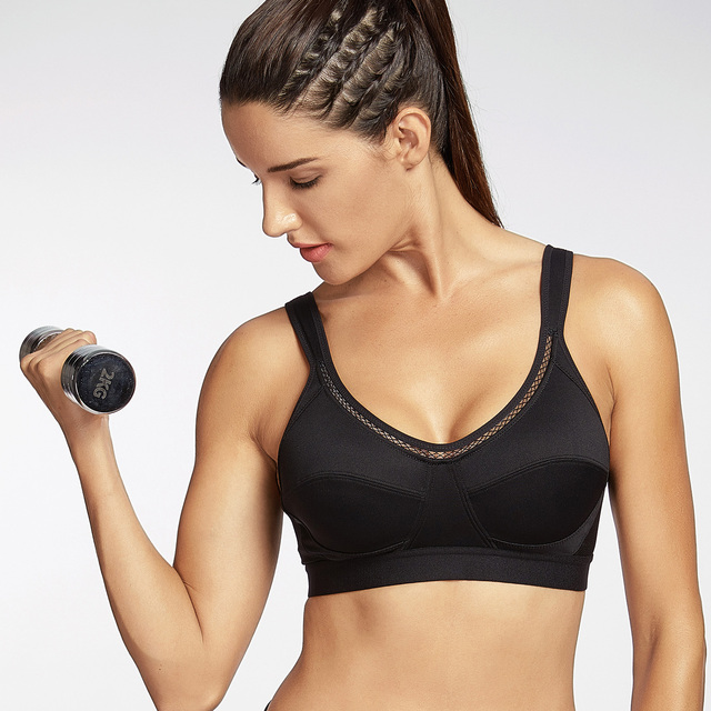 82b74c8eb1 Women s High Support Solid No Padding Fitness Classic Sports Bra-in ...
