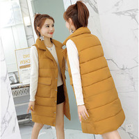 Autumn Winter Mid Long Cotton Vest Jacket Women New Sleeveless Solid Plus Size 3XL Thick Warm Down Cotton Waistcoats Outerwear