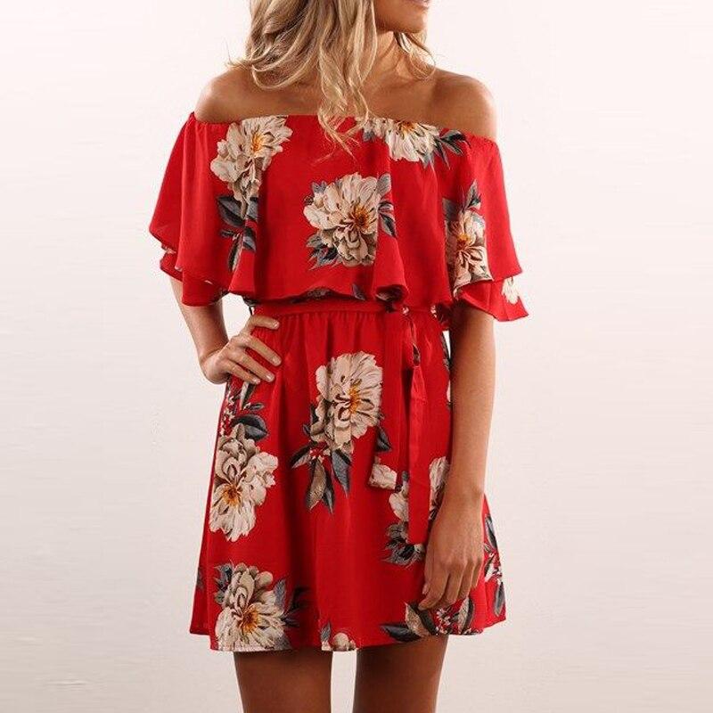 Rojo floral 2017 summer dress off hombro riza el cuello slash impresión a-forrad