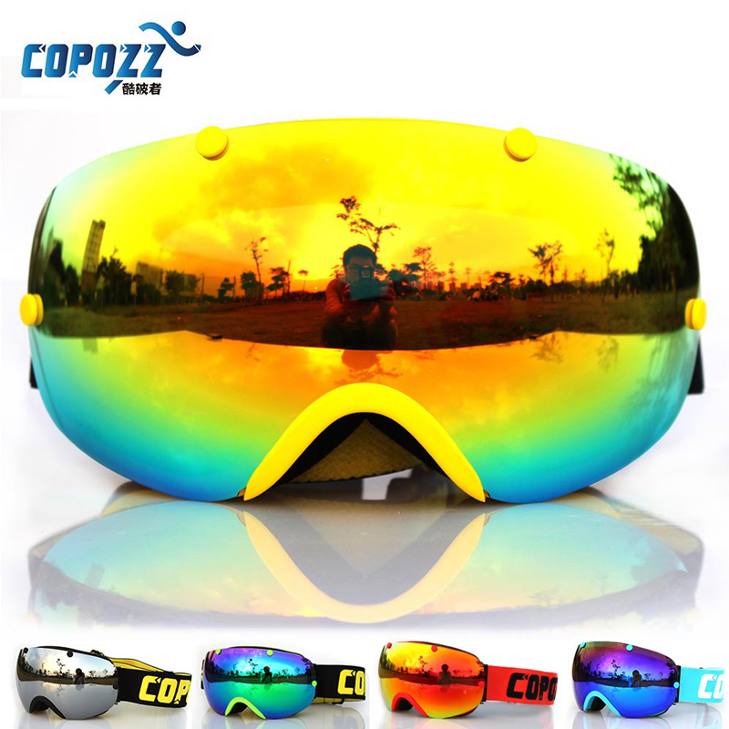 COPOZZ Ski Goggles Double Anti-fog Eyewear Spherical Professional Ski Glasses men and women Multicolor Snowboard Goggles GOG-203 nandn ng3 double layer anti fog ski goggles lenses interchangeable motocros ski snowboard professional glasses multicolor