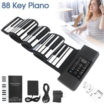 88 Keys USB MIDI Output Roll Up Rechargeable Electronic Silicone Flexible Keyboard Organ Built-in Speaker with Sustain Pedal