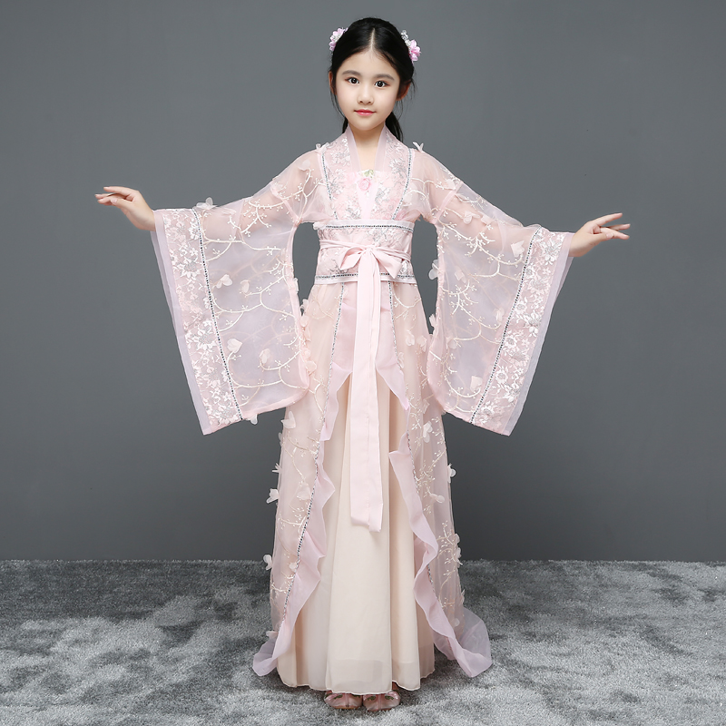 2018 autumn Girls chinese princess costume traditional dance costumes kids Floral Lace folk ancient hanfu tang dynasty dresses 2018 autumn girl ancient chinese traditional national costume hanfu dress princess children hanfu dresses cosplay clothing girls