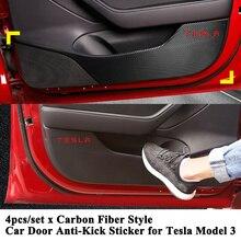 4 шт./компл. Стайлинг автомобиля двери анти-удар стикер, логотип анти-Грязная накладка протектор Kick коврик подушки аксессуары для Tesla модель 3