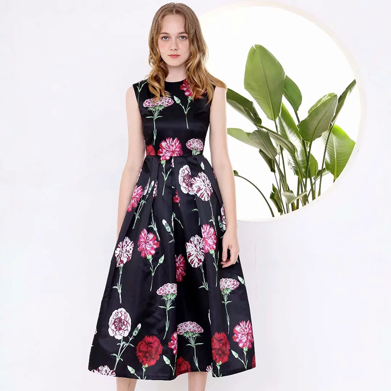 2019 été jolie imprimé Floral grande balançoire robe de haute qualité mode chaud sans manches o_cou mi mollet longueur plissée robe-in Robes from Mode Femme et Accessoires on AliExpress - 11.11_Double 11_Singles' Day 1