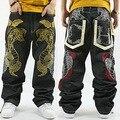 Рваные Джинсы Продвижение Новый Mid 2016 Свободные Hip Hop Jeans мужчины Печатных Хип-Хоп Хип-Хоп Брюки Приток Через Питона Skateboar