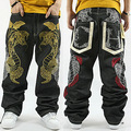 Ripped Jeans Promotion New Mid 2016 Loose Hip Hop Jeans Men Printed Hiphop Hip-hop Pants Influx Of Across The Python Skateboar