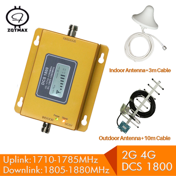 ZQTMAX 2g 4g lte cellular signal amplifier dcs 1800 repeater gsm 1800MHz mobile   Band 3 with 13dBi Yagi antenna