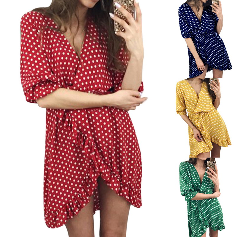 NIBESSER Brand Ruffles Summer Women Dress Vintage Dot Printed V-Neck Female Beach Dresses  Bohemian Floral Ladies Dress Party