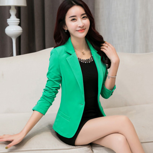 45658166e1e Long Sleeve Suits Blazer Women Plus Size Jacket Casual Female Business Suit  Short Blaser Mulheres Ladies Formal Coats KC5C143