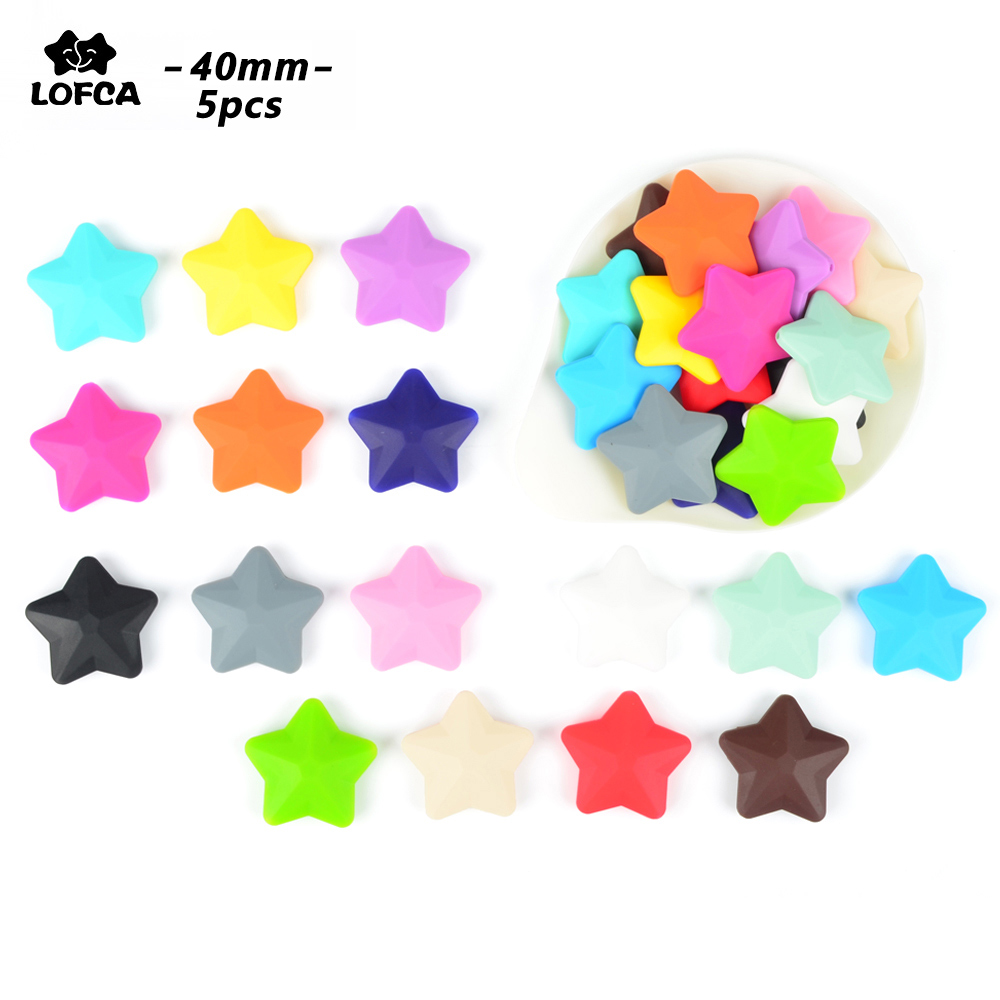 LOFCA Star Shape Silicone Beads 5 Pcs Loose Beads For Food Grade Silicone Teething Necklace Silicone Loose Beads BPA Free