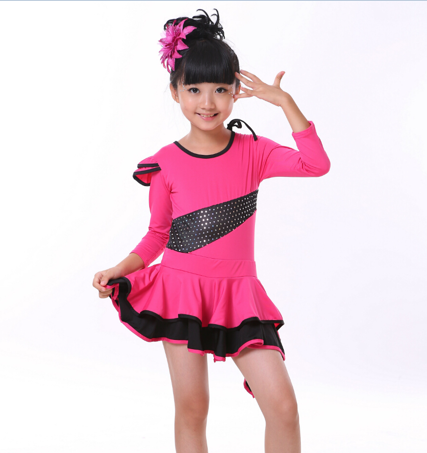 Spring Black/Red Swing Asymmetrical Skirt Latin Ballroom Dance Dress For Girls Children Elbise Tango Clothes Latina Dress Kids