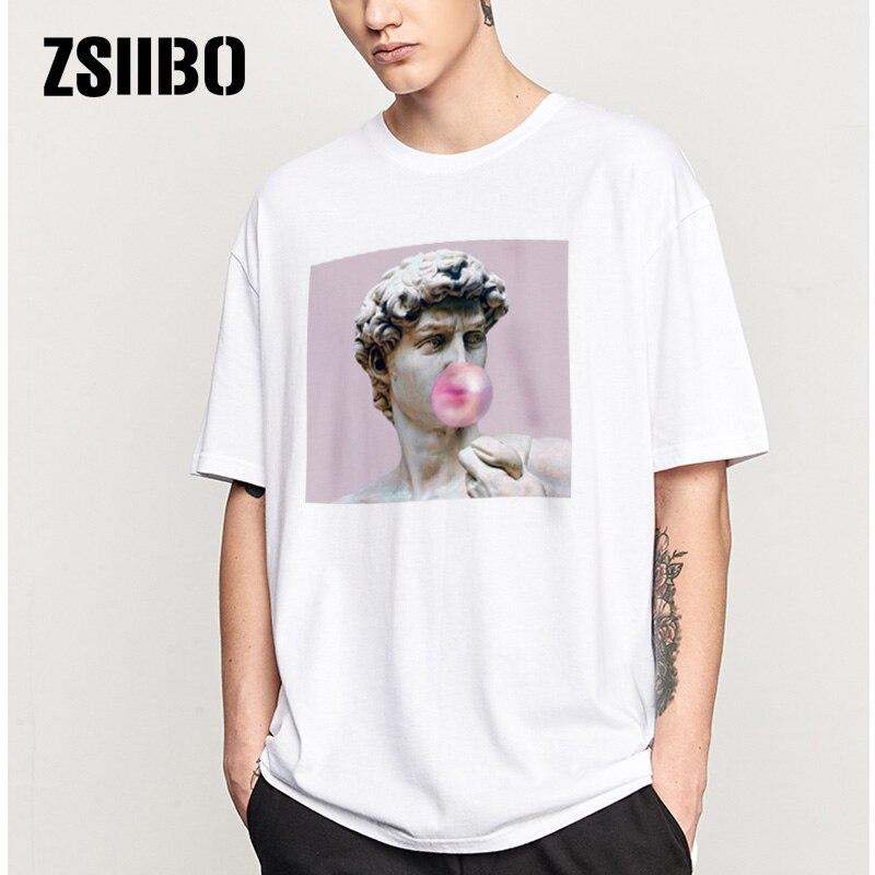 ZSIIBO David Michelangelo Summer Men's T Shirt Statue Bubble Gum Candy Taste Tshirt Men HY1MC44