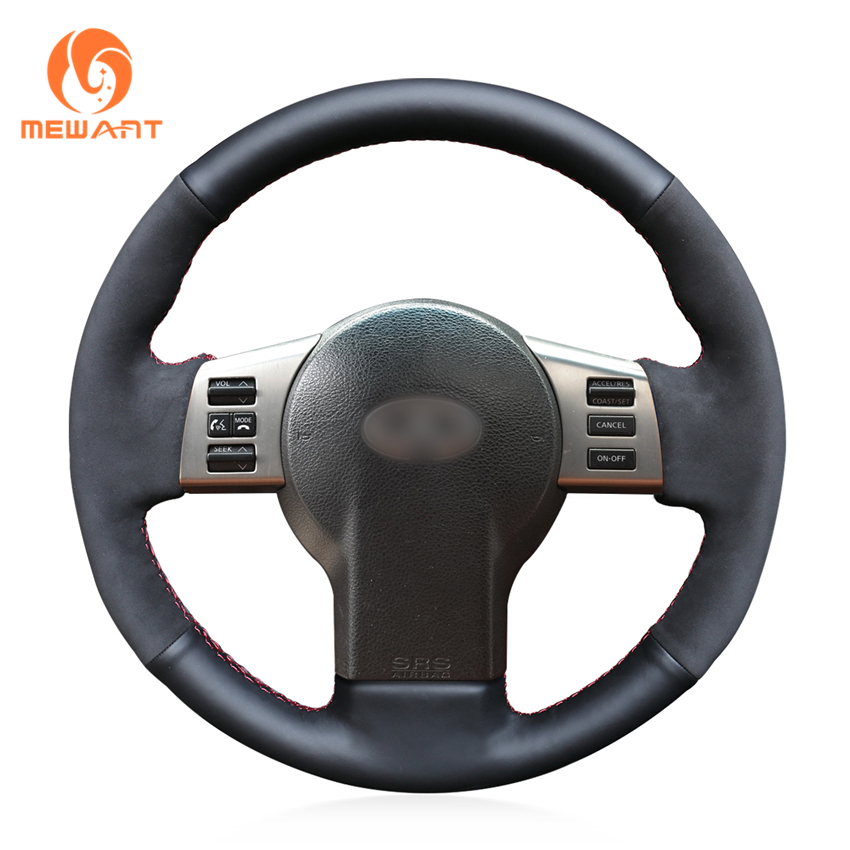 MEWANT Black Genuine Leather Suede Car Steering Wheel Cover for Infiniti FX FX35 FX45 2003-2008 Nissan 350Z 2003-2009