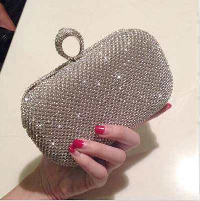 ФОТО Fashion silver color rhinestone evening bags banquet woman day clutch bridal evening bag Knucklebox female purse