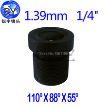 2pcs/lot, 1.39mm CCTV Camera Megapixel MTV IR CCTV Lens F2.25 1/4 M12 mount 650 ir filter
