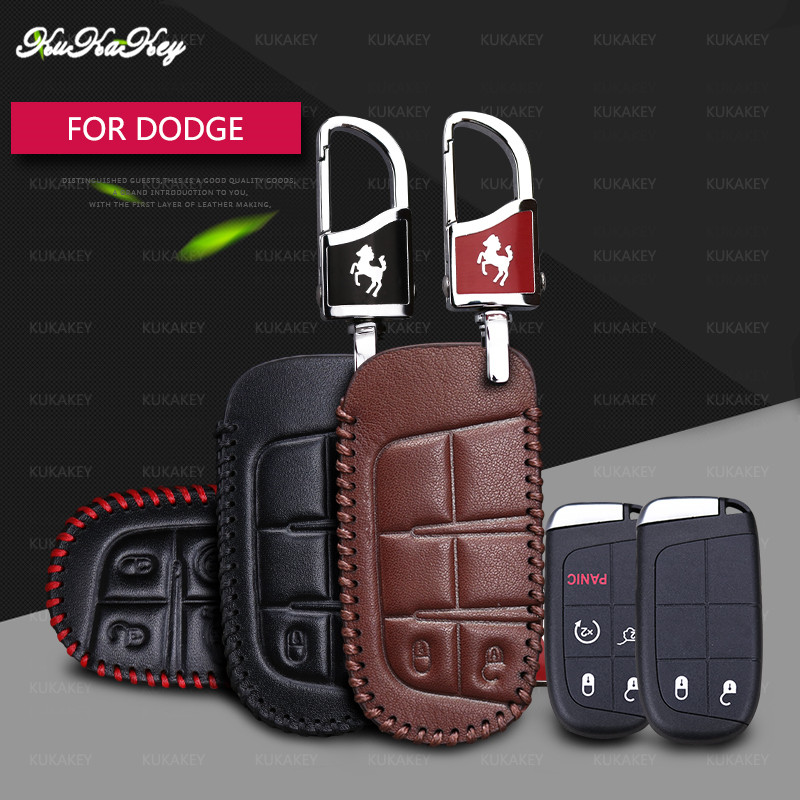 KUKAKEY Genuine Leather Key Case Cover Key Bag For Dodge Caliber Journey Caravan Charger RAM Nitro Car Styling Accessories in Key Case for Car from Automobiles Motorcycles