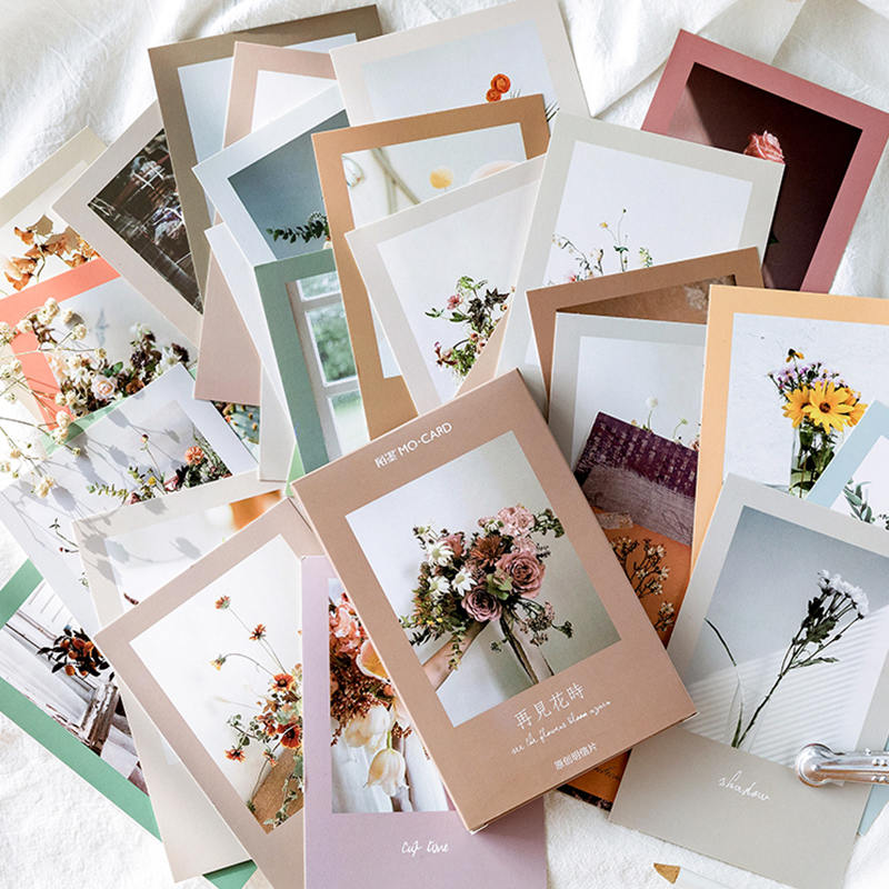 30 Sheets/Set Novelty Goodbye Flower Time Paper Postcard Greeting Card Birthday Gift Card Message Card
