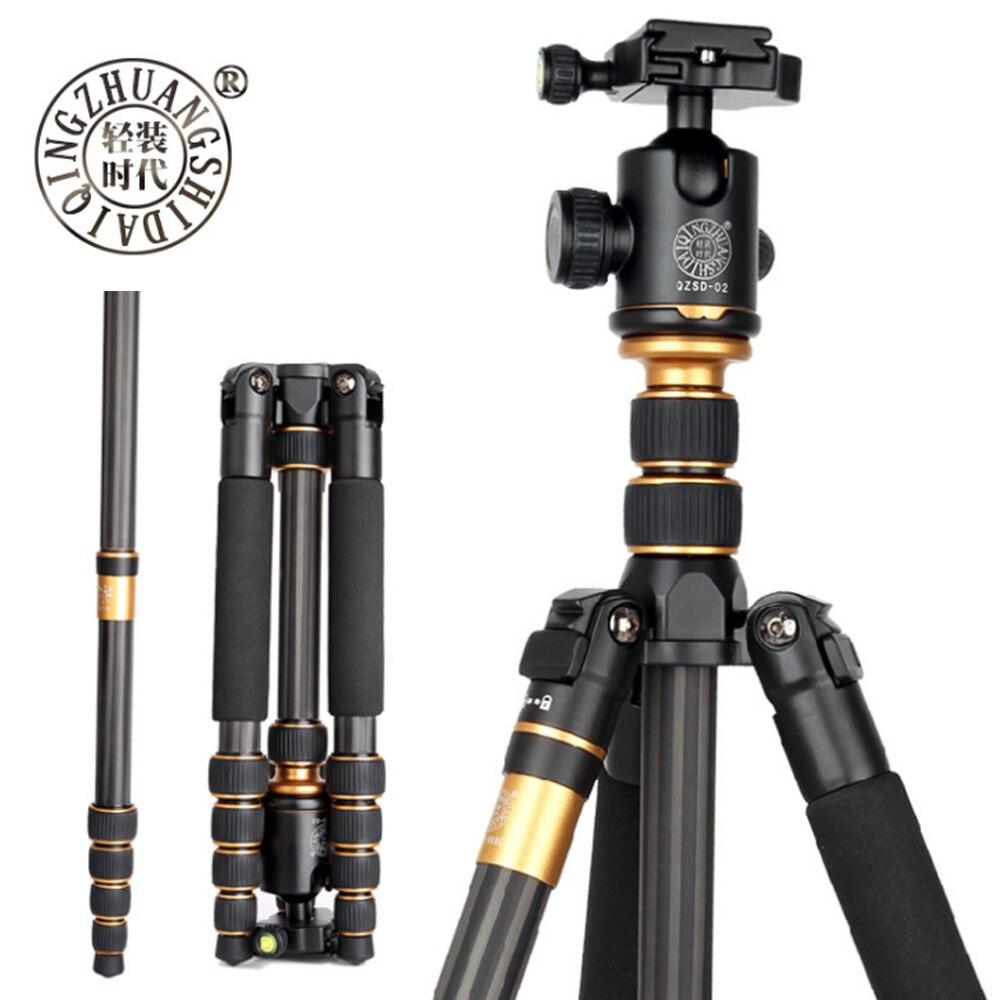 Beike QZSD Q666C Профессиональные Углерода Волокно штатив монопод для Путешествия DSLR Камера легкий компактный Портативный стенд 15 кг Максимальна...