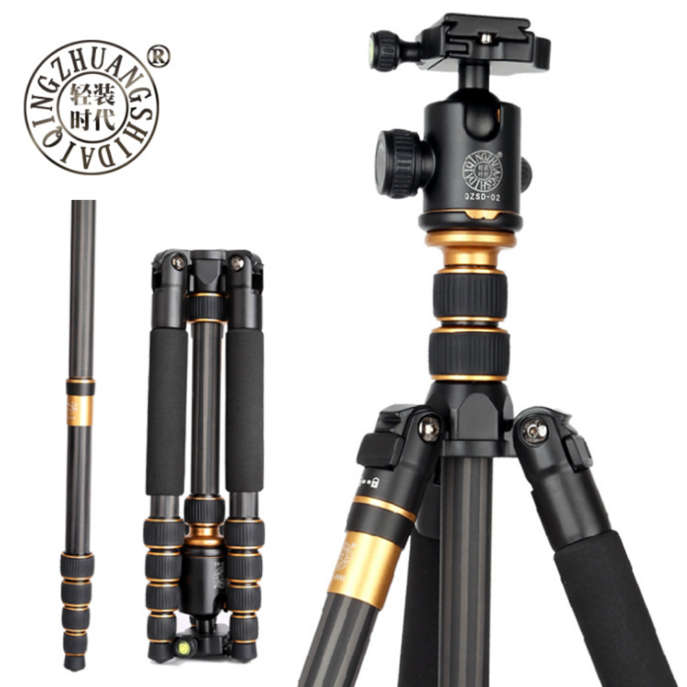 Beike QZSD Q666C Professional Carbon Fiber Tripod Monopod For Travel DSLR Camera Light Compact Portable Stand 15kg Max Load
