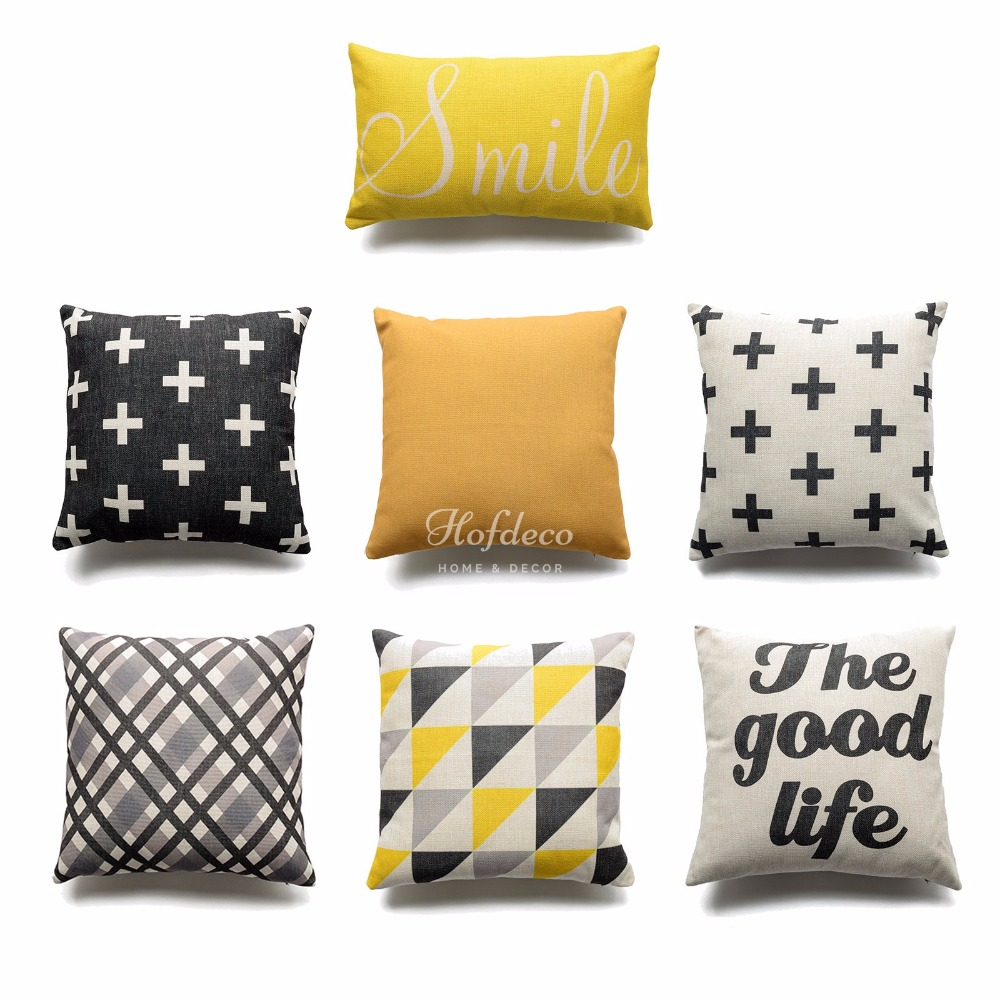 geometric pillows and cushions promotionshop for promotional  - decorative throw lumbar pillow case smile good life yellow black geometriccotton linen heavy weight fabric sofa cushion cover