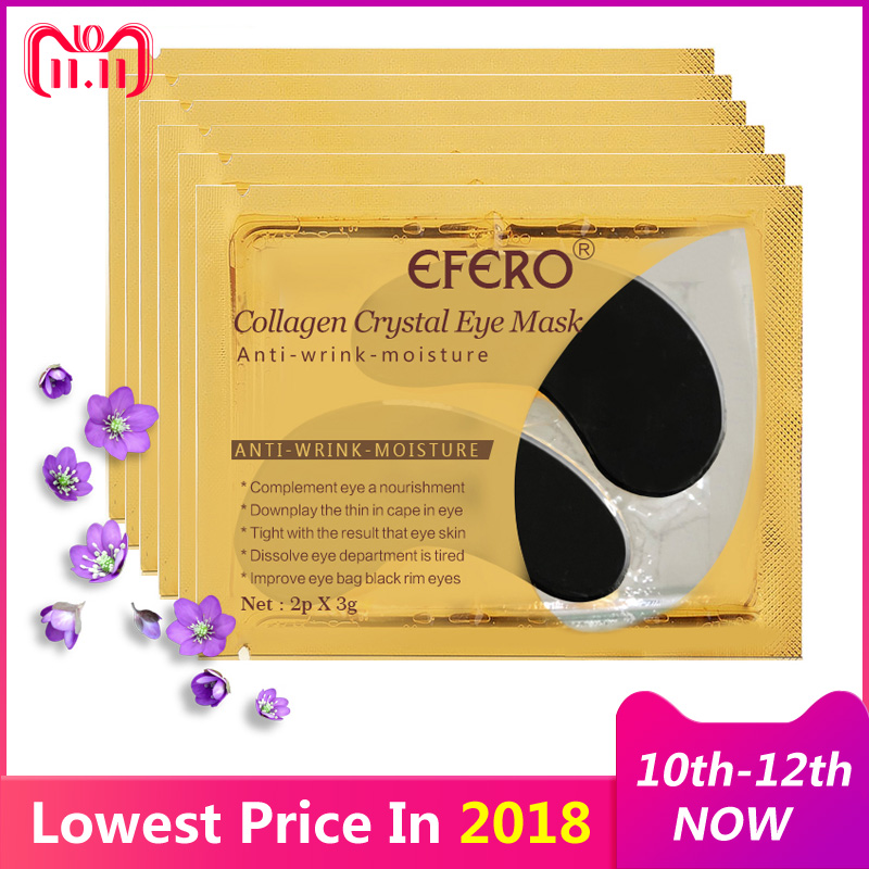 EFERO 10pcs=5pair Black Crystal Collagen Eye Mask Patches for Face Masks Under Eye Pad from Dark Circles Anti-Puffiness Eye Mask thin hydrogel eye patches under eye pad non waven fabric eye paper patches for eyelash extension 25 50 100 200 500 packs pad