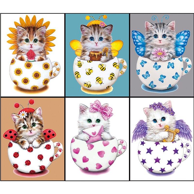 Desen animat Cat Diy Diamond decorare pictură 20 * 25cm 5D rotund - Arte, meșteșuguri și cusut