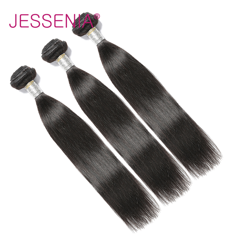 JESSENIA Hair Brazilian Straight Human Hair 3 Bundles Deal 8-22inch Hair Weave Natural Color Non-Remy Hair Thick Ends Free Ship