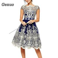 Genuo 2018 Summer Party Dress Women Sexy Hollow Out Lace Dress Elegant Casual Short Sleeve Ball Gown Party Dresses vestidos