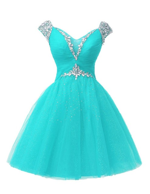 New Sexy A Line V Neck Short Cocktail Dress Sparkly Crystal Beaded Tulles Homecoming Above Knee Party Gowns Prom Dresses Vestido