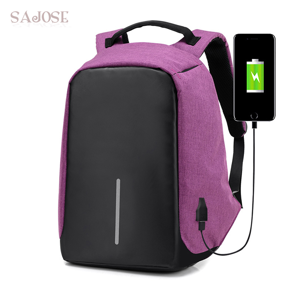 USB Charge Anti Theft Backpack Women Travel Security Waterproof School Bags College Teenage 15inch Laptop Men Backpack SAJOSE 14 15 15 6 inch flax linen laptop notebook backpack bags case school backpack for travel shopping climbing men women