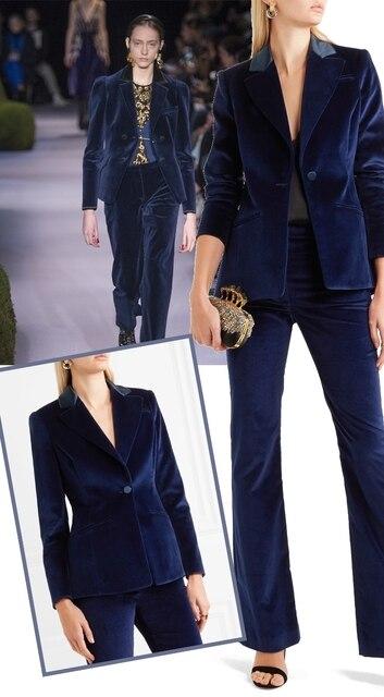 Custom Made Velvet Women Pant Suits Spring New High Street Shine