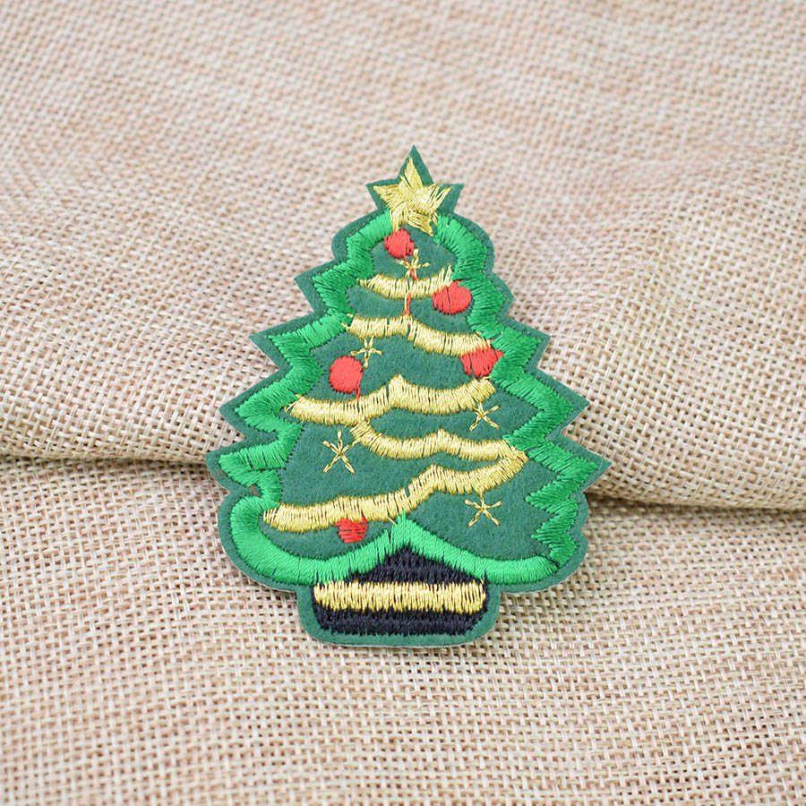 Christmas Tree Patch: Diy Patches For Clothing Iron Embroidered Christmas Tree